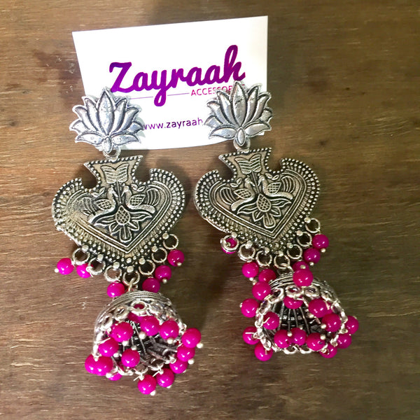 Long Silver Lotus Jhumki (Pink)