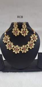 Kundan Flower Neckpiece (Red)