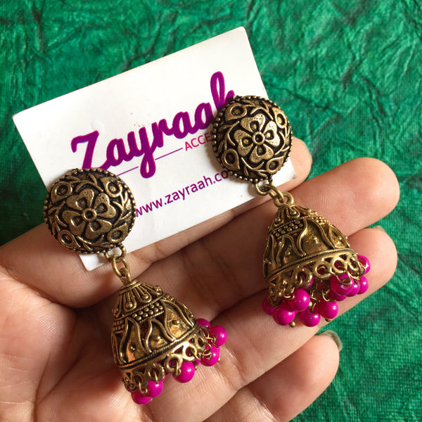 Pink Pearl Golden Oxidised Jhumki