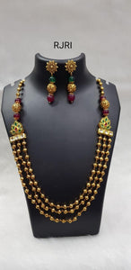 Long Red & Green Stone Neckpiece