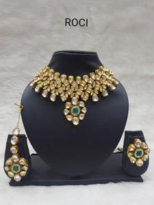 Green Stone Neckpiece Earrings & Maangtikka