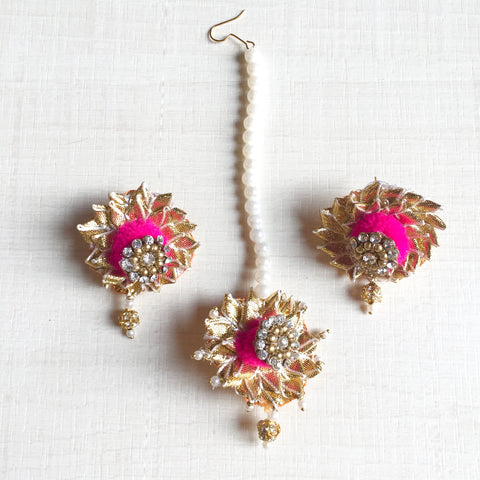 Gota Patti Maangtikka & Earrings