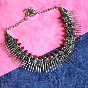 Red Stone Oxidised Neckpiece