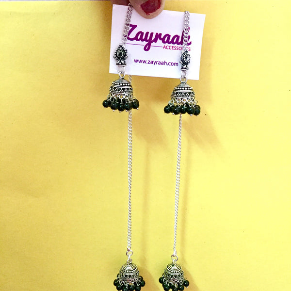 Long Silver Black Pearl Jhumki