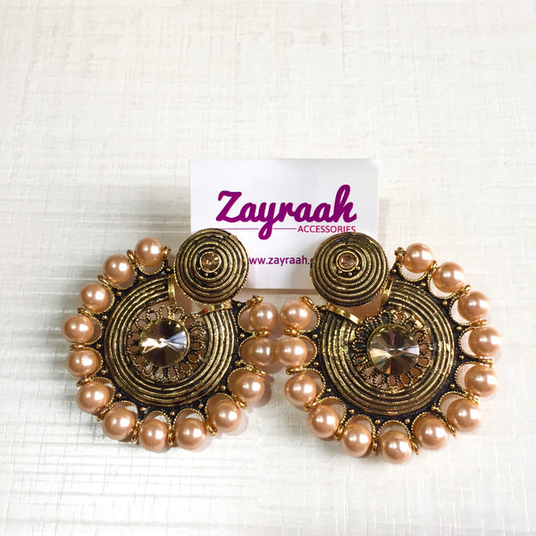Round Bronze Stone Earrings