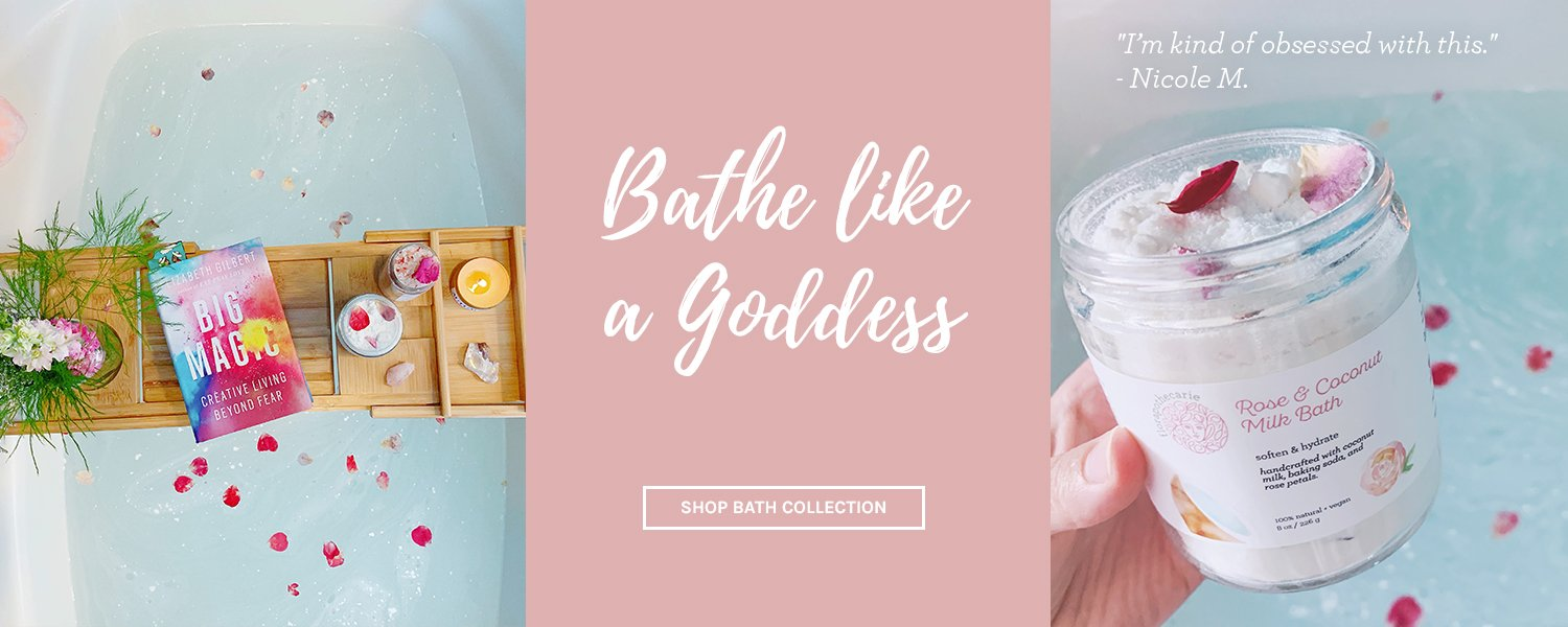botanically-infused bath salts, teas, and coconut milk baths
