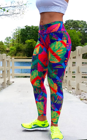 Leaves Brazilian Lycra leggings