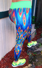 Peacock Feathers Brazilian Lycra leggings