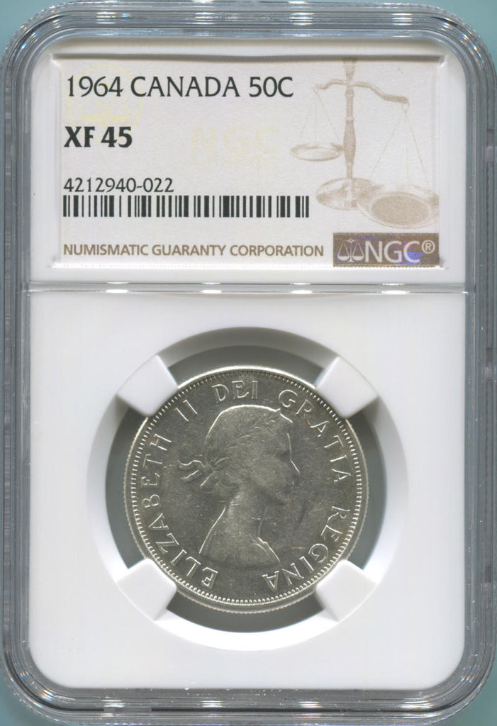 1964 Canada Silver 50 Cents. NGC XF45