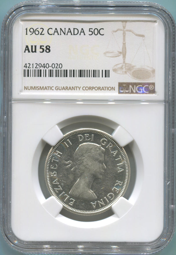 1962 Canada Silver 50 Cents. NGC AU58