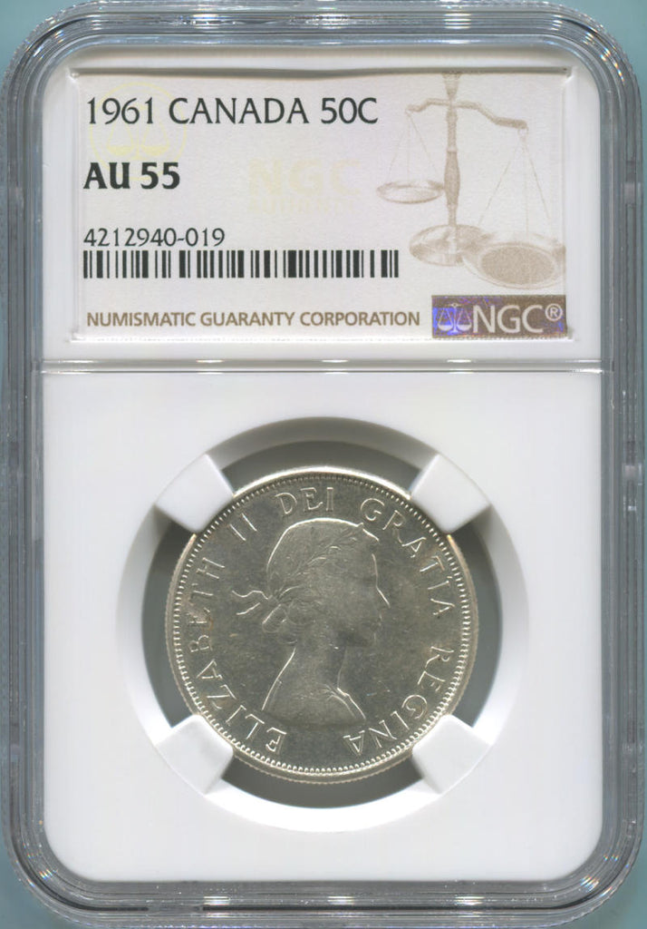 1961 Canada Silver 50 Cents. NGC AU55