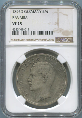 1895 D Germany States Bavaria 5 Mark, Silver. NGC VF25.