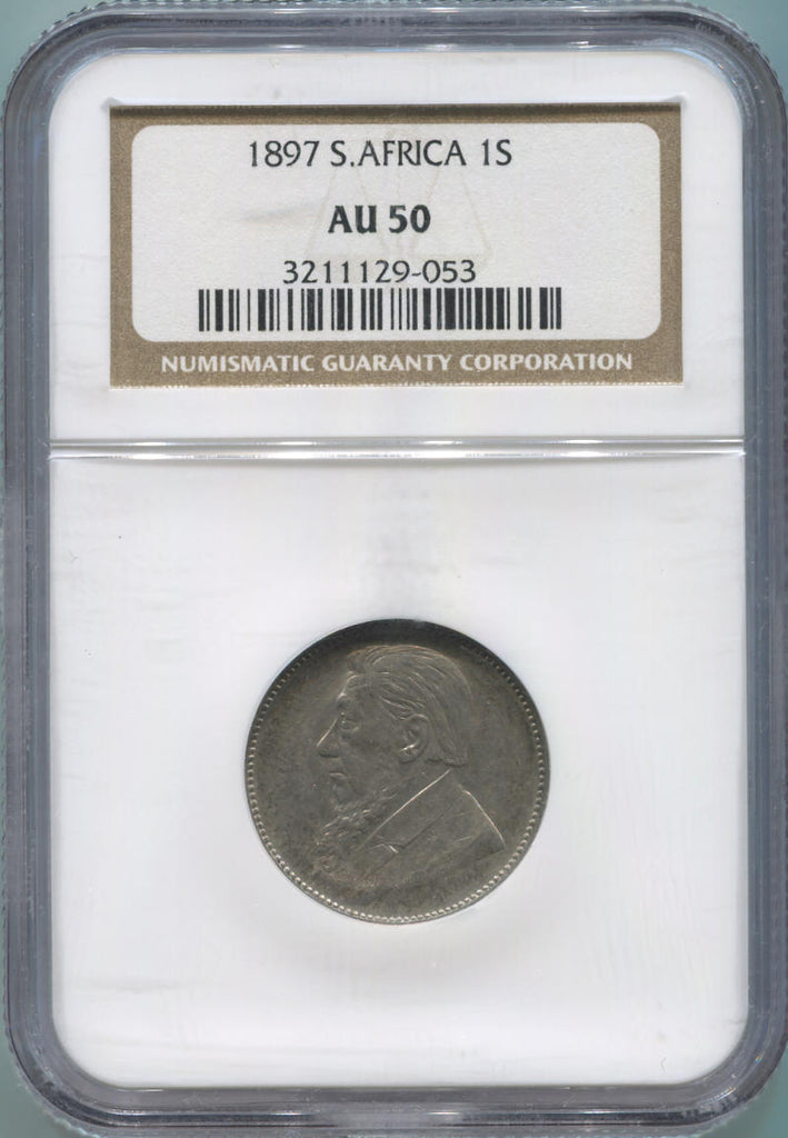 1897 South Africa 1 Shilling, NGC AU50
