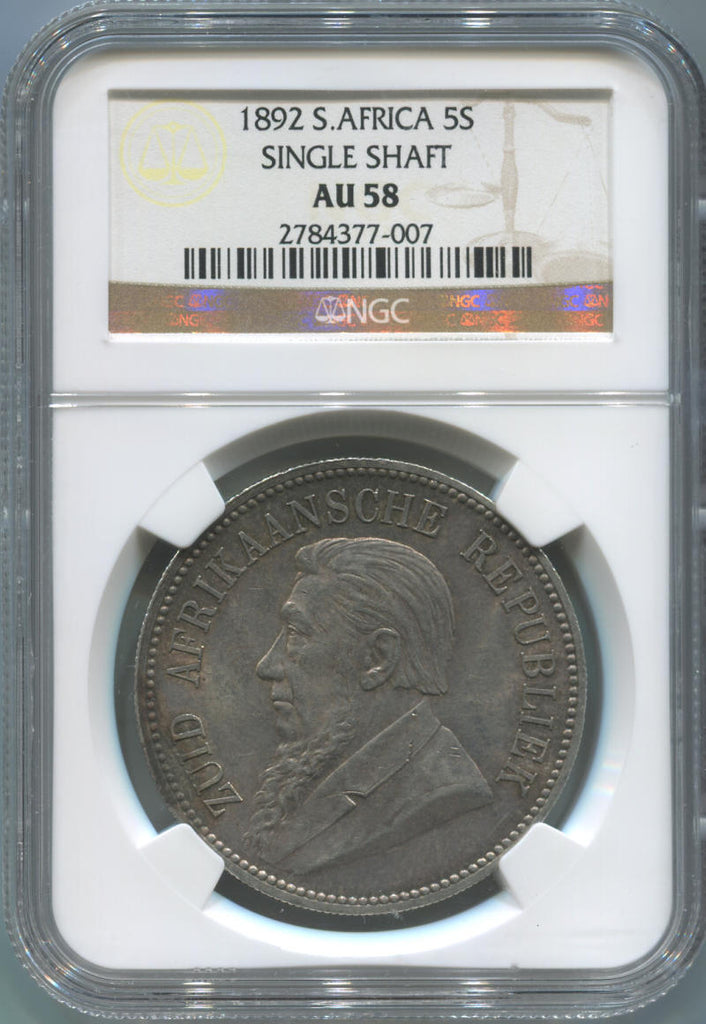 1892 South Africa 5 Shillings. Single Shaft. NGC AU58. Key Date.