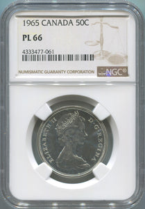 1965 Canada Silver 50 Cents. NGC PL66