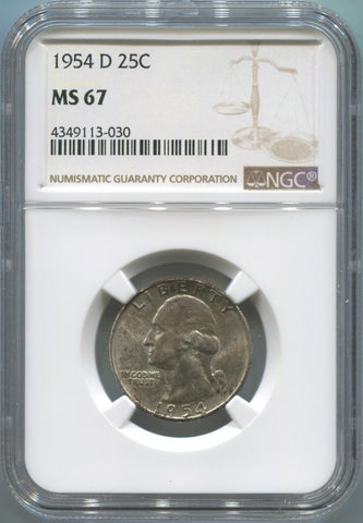 1954 D United States Washington Quarter 25C. NGC MS67