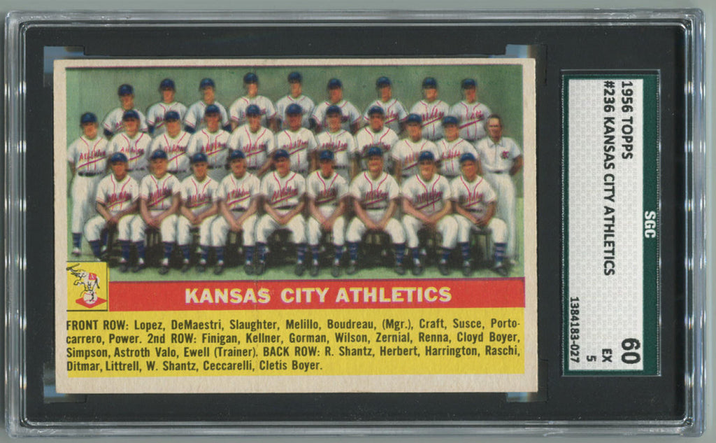1956 Kansas City Athletics #236 SGC 60 EX 5