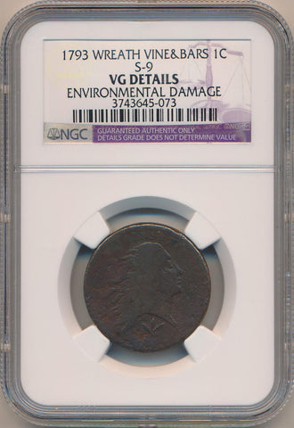 1793 Wreath Cent. Vine & Bars. S-9 NGC VG Details