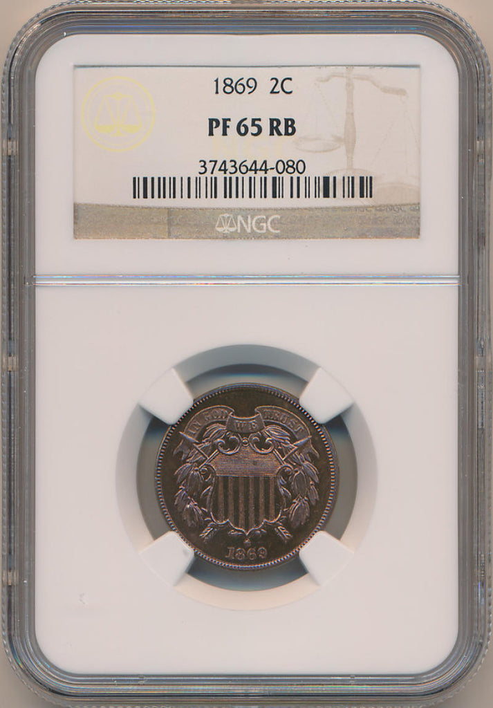 1869 Two Cent Piece, NGC PF65 RB