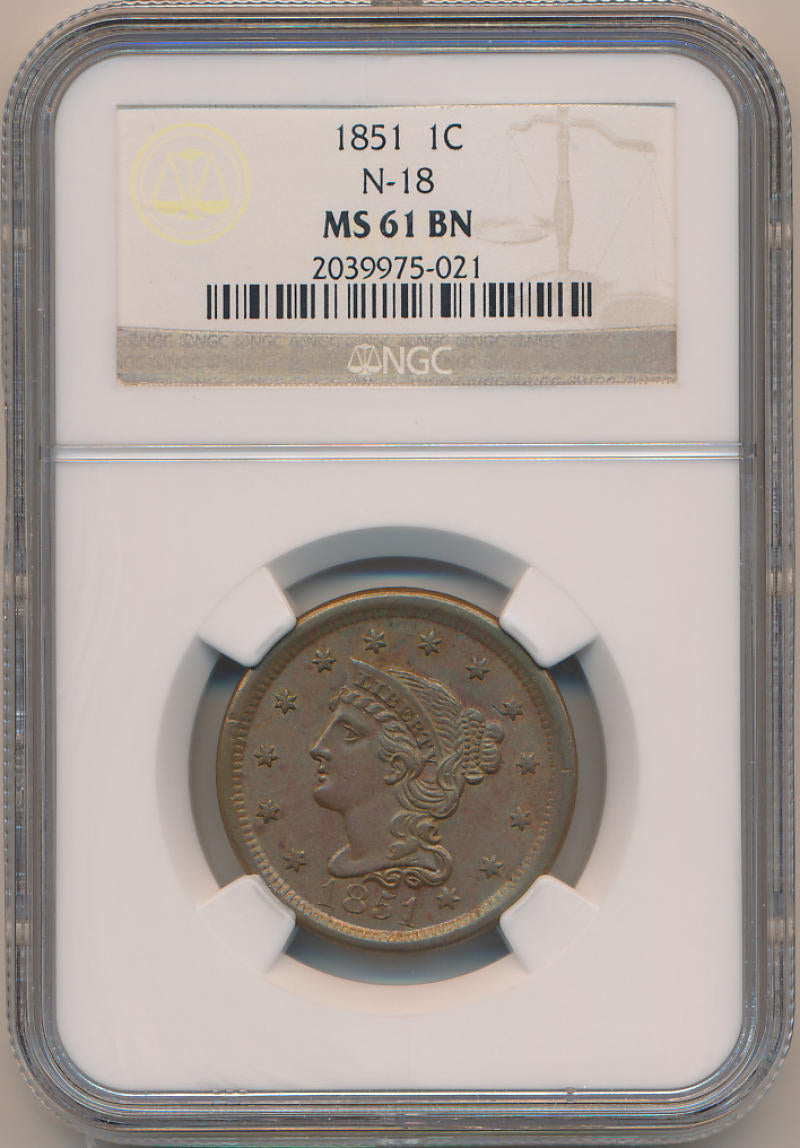 1851 Braided Hair Large Cent, N-18 NGC MS61 Brown