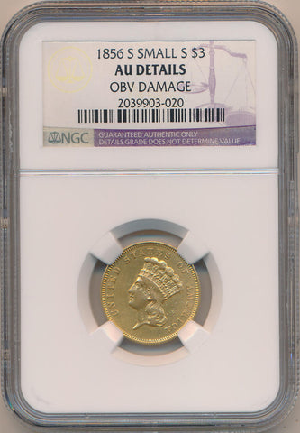 1856 S Small S $3 Dollar Gold. NGC AU Details