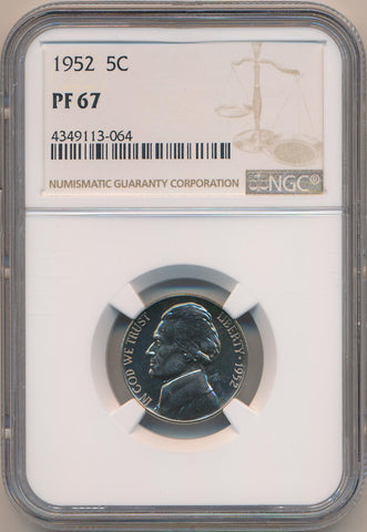 1952 Proof Jefferson Nickel. NGC PF67