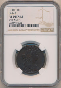 1802 Draped Bust Large Cent, S-242 NGC VF Details