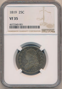 1819 Capped Bust Quarter, NGC VF35
