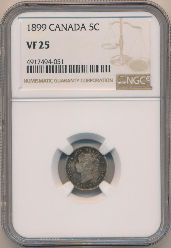 1899 Canada 5 Cents. Nickel. NGC VF25