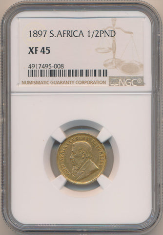 1897 South Africa 1/2 Pond, NGC XF45