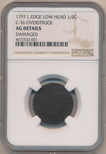 1797 L Edge Low Head Half Cent C-3b Overstruck NGC AG Details. Rarity 4 Inv #MC2