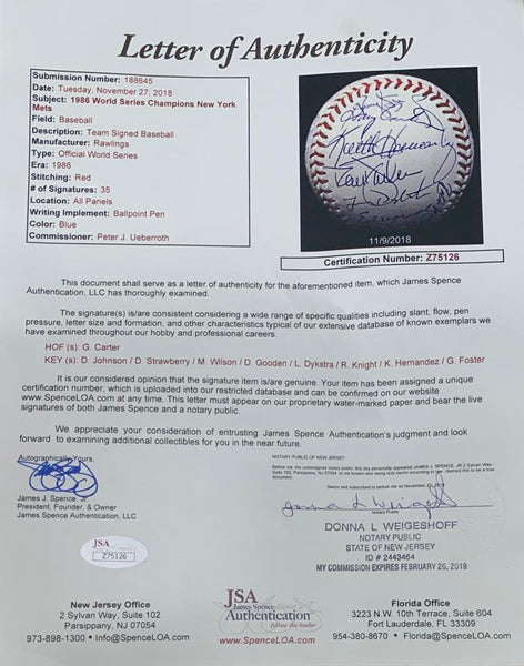 1986 New York Mets Team Signed Official World Series Baseball, WS Champions. JSA