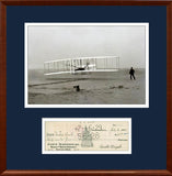 Orville Wright Signed Check Autograph Display. PSA JSA