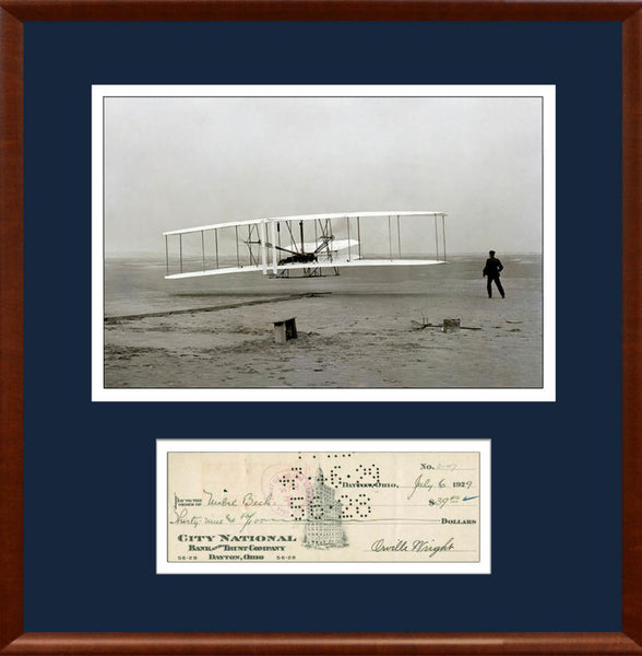 Orville Wright Signed Check Autograph Display. PSA