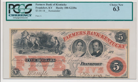 Farmers Bank of Kentucky $5 Remainder Note. Obsolete. Frankfort, KY. PCGS 63