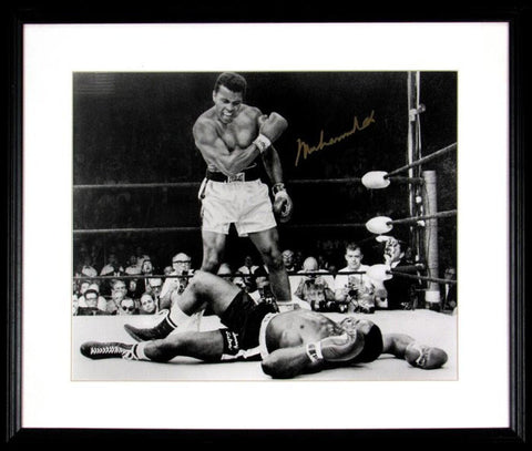 Muhammad Ali Signed 16x20 Photo Over Liston, Framed. Auto JSA