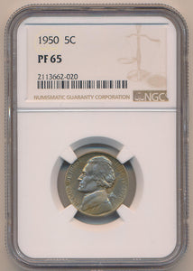 1950 Proof Jefferson Nickel. NGC PF65