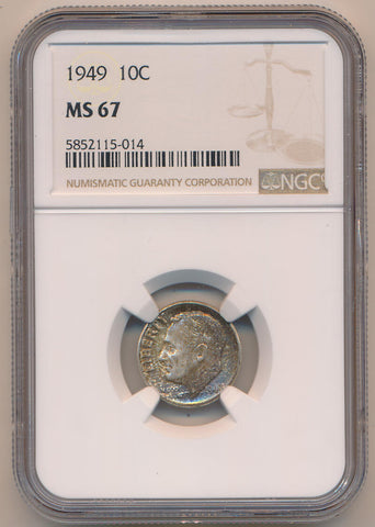 1949 Mercury Dime, NGC MS67