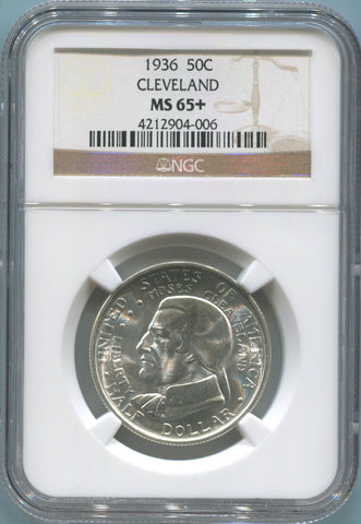 1936 Cleveland Commemorative Silver Half Dollar. NGC MS65+