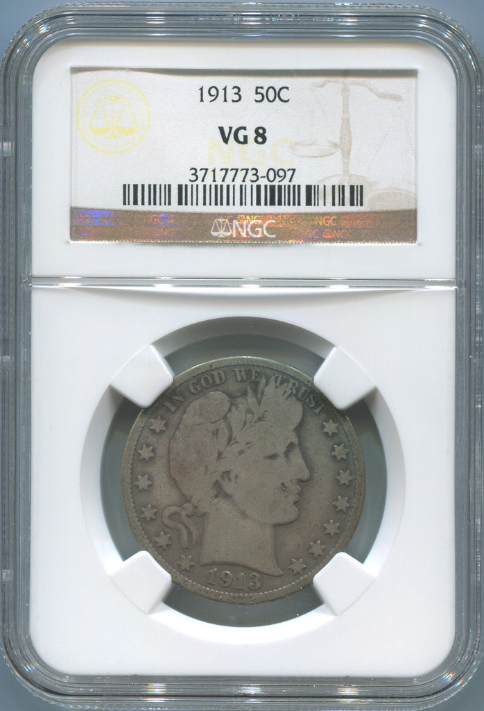 1913 Barber Half Dollar. NGC VG 8. Philadelphia Mint!