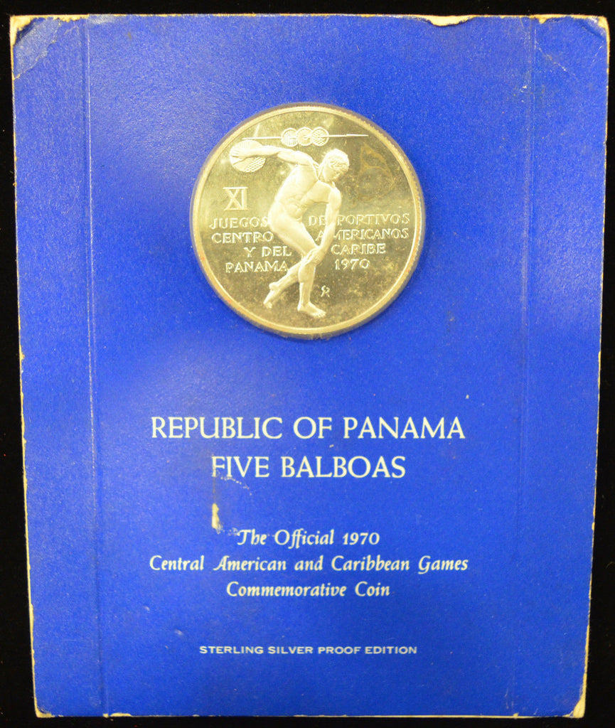 1970 Panama 5 Balboa Proof Silver. Central American and Caribbean Games Commem