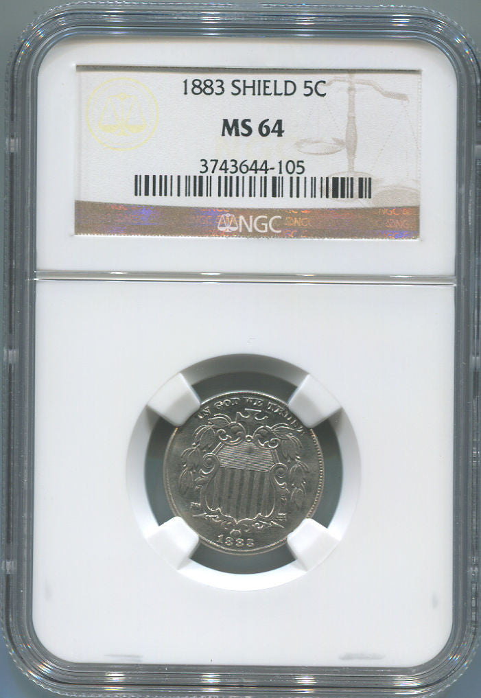 1883 Shield Nickel. NGC MS 64. Philadelphia Mint. Uncirculated!