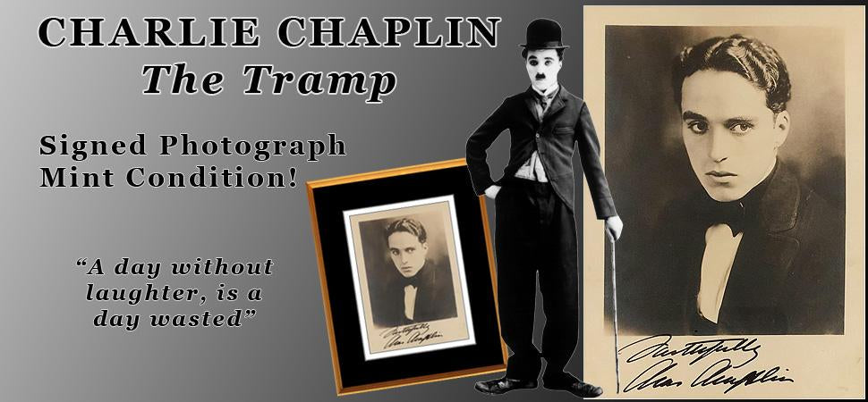 Rare Charlie Chaplin Signed Photograph Mint Condition PSA