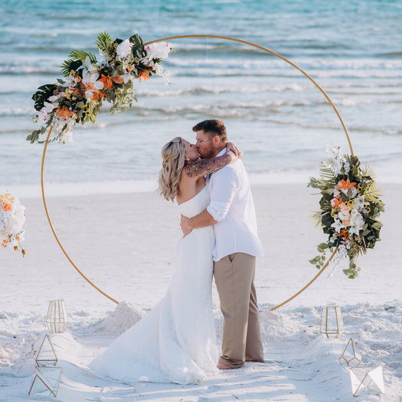 modern geo gold circle wedding arch arbor decor rental panama city florida destination wedding florist event rentals beach wedding