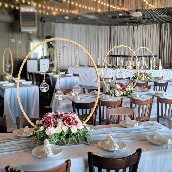 centerpiece wedding rental panama city florida wooden circle wedding centerpiece with live edge walnut base and crystal tealight candle holders modern rustic nautical beach backyard elopement elegant wedding bride