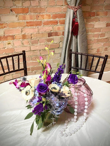 lavender vintage wedding centerpiece with flowers