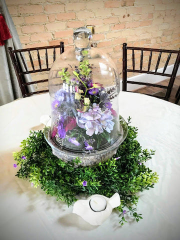 wedding centerpiece lavender flowers bell jar