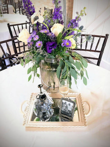 wedding centerpiece lavender flowers decor event rental florist
