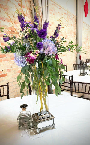 vintage lavender wedding flower centerpiece decor event rental