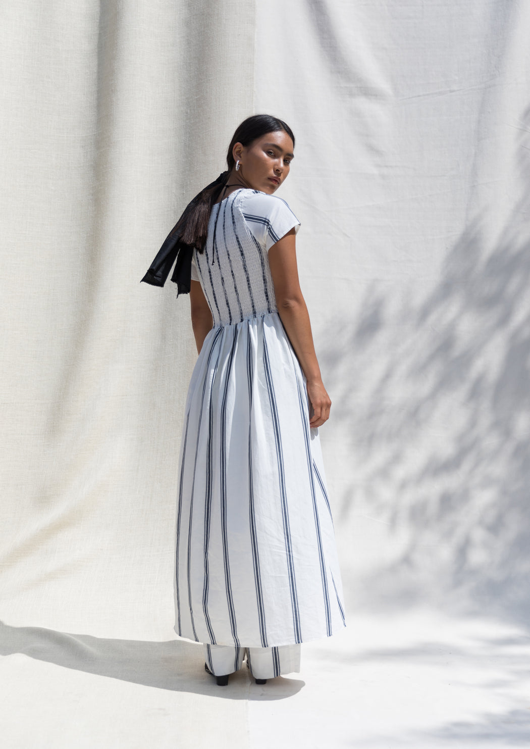 Lourdes Dress - Chalk/Indigo Stripe